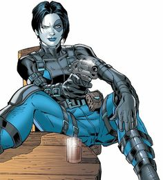 Domino - Marvel Comics - X-Force - Neena Thurman. Rule - Domino sits however she damn feels like. Domino Marvel, Domino Comics, Domino Art, Hq Marvel, Arte Dc Comics, Marvel Comics Art, Captain Marvel, Comic Book Characters, Marvel Characters