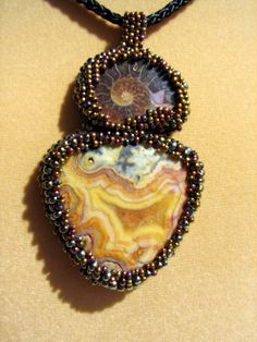 Stunning Bead Embroidered Pendant Necklace, Ammonite Shell Fossil, Picture Jasper