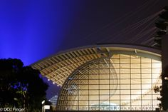 13th of January - Singapore: Mariba Bay shopping mall, an architectural beauty with fascinating colors as a night show