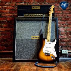 Your dream rig? An original 1954 #Stratocaster and 1965 Marshall amp. (From @ecguitars) #ToneHeaven #Straturday Learn to play guitar online at www.Studio33GuitarLessons.com
