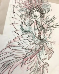 Death of the harpy queen! Starting this rad backpiece on an awesome girl. Stoked to add to her amazing collection Black Ink Tattoos, Cute Tattoos, Body Art Tattoos, Traditional Tattoo Black And White, Neo Traditional Tattoo, Tattoo Sketches, Tattoo Drawings, Art Drawings, Mythology Tattoos