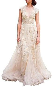 8bbdf01e6ec Ruolai Asa Bridal Women s Vintage Cap Sleeve Lace A Line Wedding Dresses  Bridal Gowns champagne 8