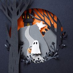 Cut paper Halloween illustration by Margaret Scrinkl illustration Halloween Illustrations Celebrating the Spookiest Time of Year 3d Paper Art, 3d Paper Crafts, Paper Artwork, Paper Cutting Art, Halloween Illustration, Paper Illustration, Halloween Paper Crafts, Halloween Crafts, Halloween 2014