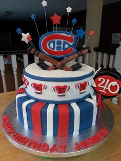 Montreal Canadians 40th birthday cake. 40th Birthday Cakes, 7th Birthday, Hockey Cakes, Fancy Cakes, Montreal, Cake Toppers, Delicious Desserts, Fondant, Cake Decorating