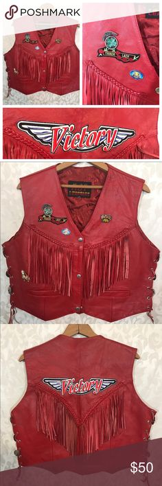 Red Moto Vest Fringe Leather Lace Up XXL This is a total showstopper. Genuine red leather motorcycle vest with fringe and Lace up sides. Sold with all the pins and patches. Marked a Size XXL but looks like it might run small. Armpit to armpit: 21 inches, waist 20 1/2 inches, length 21 inches, shoulders 15 3/8 inches. Overall good condition. A few empty pin holes where a pin was removed. Light marks and creases in leather but nothing significant. Hot Leather Jackets & Coats Vests