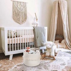 Cosy corner using a canopy in this neutral nursery . Chic Nursery, Rustic Nursery, Nursery Neutral, Nursery Room, Girl Nursery, Girl Room, Nursery Decor, Baby Lamb Nursery, Project Nursery