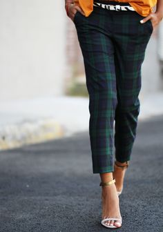 tartan paired with mustard blazer and black silk tee