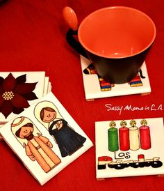 DIY Drink Coasters, Las Posadas Crafts, Christmas Crafts, DIY Gifts, Hostess Gifts #LowesCreator