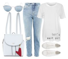 """Stone Cold"" by smartbuyglasses ❤ liked on Polyvore featuring Ray-Ban, GUESS, Topshop, white, Blue and rayban"