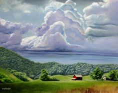 Mountain painting, landscape painting, realistic art, realism art, artwork for sale, oil paintings for sale, barn art, barn painting, clouds