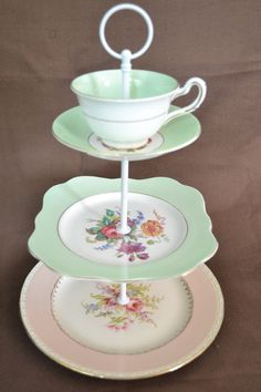 Cake Stand 3 tier Light Green and Pink for Weddings, Baby Shower, Jewelry Display, Tea Parties, FREE shipping. $110.00, via Etsy.