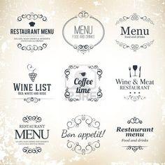 Etiqueta de conjunto para el diseño del menú del restaurante Foto de archivo - 17989332