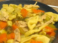 Completely from scratch Chicken Noodle Soup. Could easily sub in store-bought noodles, though.