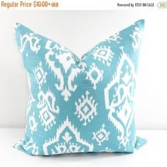 SALE Blue Pillow cover. Raji Spirit blue. Blue and white