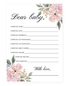 Flower Baby Shower Games Printable Package Whimsical baby wishes card for girl by LittleSizzle Baby Shower Flowers, Boho Baby Shower, Baby Shower Fall, Baby Boy Shower, Baby Flower, Baby Girl Shower Themes, Baby Shower Gender Reveal, Baby Shower Games, Baby Shower Decorations