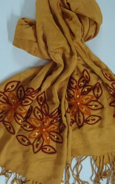 Satin viscose Stoles With Embroidery Work.