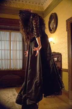 Penny Dreadful, Eva Green as Vanessa Ives. I LOVED the black dress with the polka dots Vanessa wore on her date with Dorian, and then when her demon came out to play. Dorian Gray, Frankenstein, Paranormal, Eva Green Penny Dreadful, Penny Dreadfull, Vanessa Ives, Timothy Dalton, Victorian London, Victorian Era