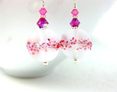Pink Earrings Lampwork Earrings Etched Glass by GlassRiverJewelry