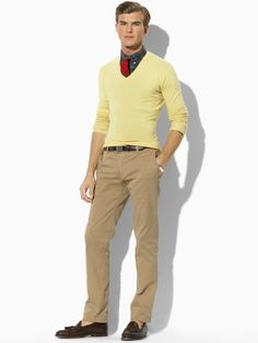 Why yes, the man I'm dressing does wear Polo Ralph Lauren. I just adore this outfit [see cashmere jersey v neck sweater].