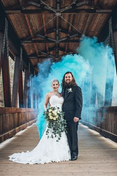 Turquoise smoke bomb pic on covered bridge ~ we ❤ this! moncheribridals.com