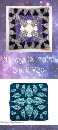 MooglyCAL2020 Block 20 is a gorgeous new square by Pattern Paradise! Get all the patterns in this free year-long crochet along featuring Red Heart With Love! #mooglycal2020 #mooglycal #crochet #freecrochetpatterns #redheartyarns #yarnspirations #crochetalong