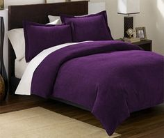 Soft Micro Suede Comforter Set bedding-in-a-bag, Purple - King