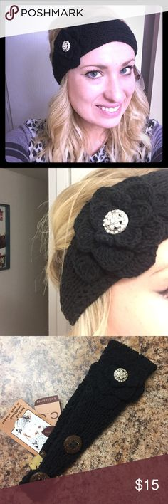 Knitted Headband Very cute knitted headband with a knitted flower. Two buttons for adjusting. Never used, new with tags. This goes over your ears for an ear warmer in the winter outside! Very fashionable and warm! Accessories Hats