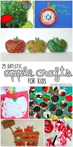 Artistic apple crafts for kids. Great for autumn fall season or back to school