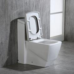 WoodBridge WoodBridge Elongated One-Piece Toilet (Seat Included) | Wayfair Bathroom Design Small, Bathroom Ideas, Wax Ring, Dual Flush Toilet, Toilet Sink, Wall Hung Toilet, Wood Bridge, Home Decor Kitchen, Clean Design