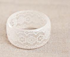Resin Bangle Bracelet Vintage French Lace Cream Ivory by daimblond, €49.00
