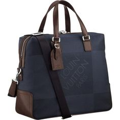 Men Louis Vuitton Damier Geant Canvas Sac 24H Blue Ocean N41116