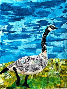 CANADA GOOSE – Val Braun Art collage on watercolour cold pressed paper; ink, watercolour, collage, hand made paper, feather. Pick Up Trash, Felt Hearts, Bird Feeders, Canada Goose, Collage Art, Watercolour, Mixed Media, Feather, Decorations