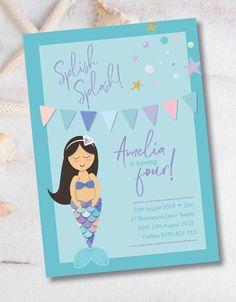 Little Girl Birthday, Little Girls, Mermaid Theme Birthday, Birthday Invitations, Rsvp, Birthday Parties, Colours, Prints, Artwork