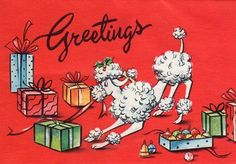 Christmas  Poodle--I might have to make a Poodle card this year.