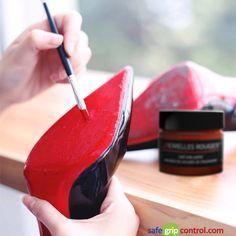 238f29f0c55d Applying the original acrylic enamel paint on Red Bottom Christian Louboutin  restoring the original vibrant red