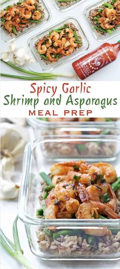 Spicy Garlic Shrimp and Asparagus - a healthy, high protein lunch that's perfect for meal prep!