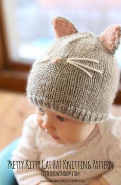 Baby Knitting Patterns Kitty Katze Baby Mütze STRICKMUSTER gestrickte Katze Hut.....