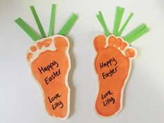 First Easter craft ideas - little carrot magnets using baby foot prints!