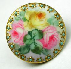 porcelain button with pink and yellow roses