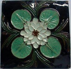 Ceramic tile with water lily leaves (1900) designed by Rafael Bordalo Pinheiro (Portuguese, 1846-1905) - Museu da Cerâmica das Caldas da Rainha (Portugal)