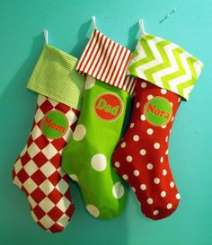 Family 3 Pack, Matching Christmas Stockings, Personalized, Modern Stockings, Traditional Red White Christmas Stockings, Stocking Stuffers