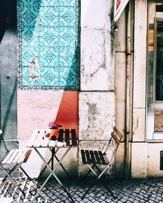 beautiful tiles and pretty pastels in Lisbon.