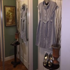 """Dove grey coat dress SALE Dove Grey coat dress with buttons down the front and sash belt. Fully lined. Great for office or church. Hits at knees I'm 5'5"""" no size tag but I wore a 12 before my weight loss. Marvin Richards Dresses Midi"""