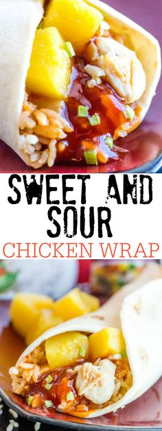 A quick, easy and delicious lunch or dinner idea these Sweet and Sour Chicken Wraps and a fun and tasty treat for any day of the year. #StirUpTheFun AD @DoleSunshine @kikkomanusa @minutericeUS @walmart