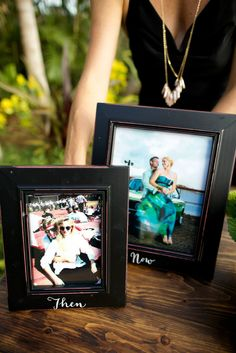 At Chef Lee and Carl's wedding, they had Then and Now photos for the guest sign-in table.  Photo: Anna Kim Photography