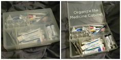 Need to organize your medicine cabinet?  Try a plastic baseball card storage box!