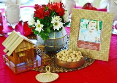Filipino Themed Party: Centerpieces used a mix of local items Birthday Centerpieces, Table Centerpieces, Centerpiece Ideas, Birthday Diy, First Birthday Parties, 75th Birthday, Birthday Ideas, Event Themes, Party Themes