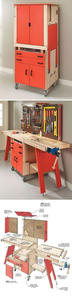 "#woodworkingplans #woodworking #woodworkingprojects Folding Workshop- ""shop-in-a-box"" combines a full-featured worksurface woodsmithplans.co..."