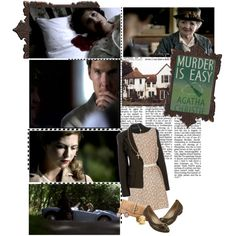 Murder is Easy - Miss Marple - Agatha Christie by nicciclark-suupernerd on Polyvore featuring American Vintage, Donna Karan, Naturalizer, FOSSIL, Gorjana, women's clothing, women's fashion, women, female and woman