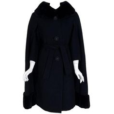 Preowned 1960's Luxurious Black Wool & Genuine Sheared Beaver-fur... (16,565 MXN) ❤ liked on Polyvore featuring outerwear, coats, black, belted wool coat, wool cape, cape coat, wool fur coat and fur cape coat
